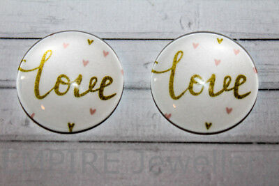 "1 x Gold ""love"" on White 25x25mm Glass Dome Cabochon Cameo Saying"