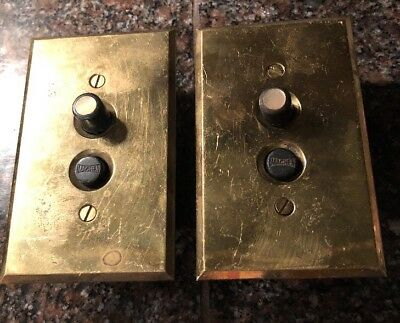 2 Works! Vintage Machen 2 Push Button Switch Brass Plate Mother Of Pearl # 250