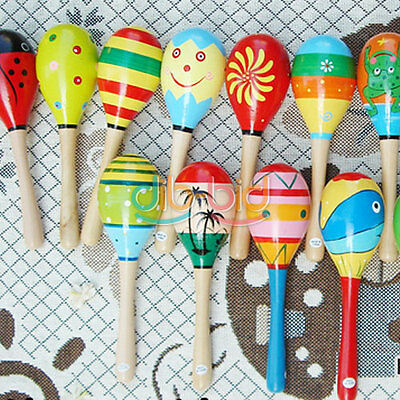 Wooden Maraca Wood Rattles Musical Party Favor Child Baby Shaker Kid Toy MZUS