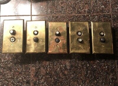5 Works! Vintage Various 2 Push Button Switch Brass Plate Mother Of Pearl #251