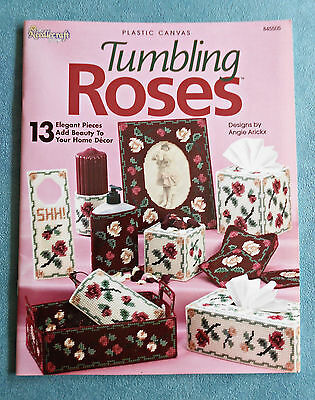 Plastic Canvas TUMBLING ROSES ~ Needlecraft Shop - 2005 SC Pattern Book in GC