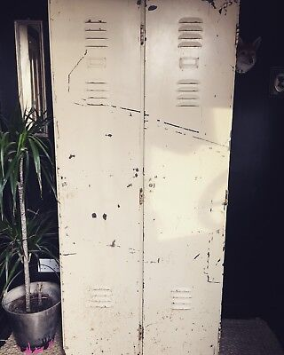 Double Industrial Vintage Lockers, Distressed Wardrobe Upcycled funky retro