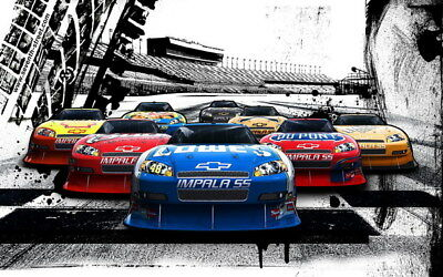 "062 Car Race - NASCAR USA Modified Cars 22""x14"" Poster"