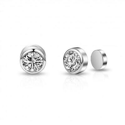 Silver Magnetic Clip On Earrings with Crystals from Swarovski®