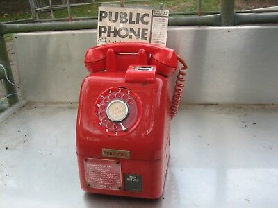 Rare Vintage Red Phone Pay Phone Coin Operated No Keys (Collectable)