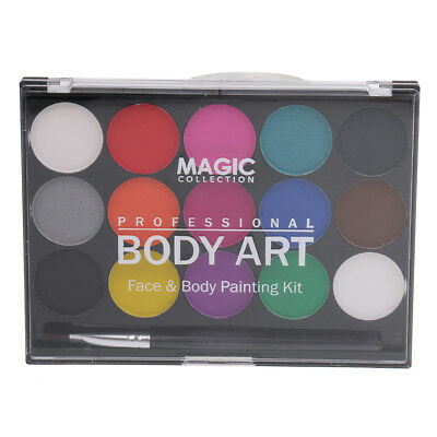 Non-toxic Face Body Paint Palette Party Fancy Dress 15 Colors Art Makeup Set