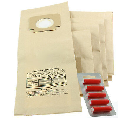 5 x H4 H18 Type Paper Dust Bags for BLOMBERG UPRIGHT BU11 + 5 Fresheners