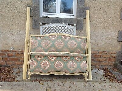 French vintage Louis Philippe style capitonne sleigh double bed