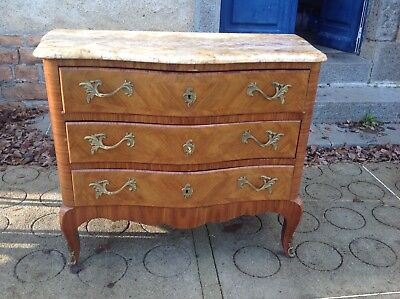 French vintage Louis XV style bombe commode with gilt mounts,