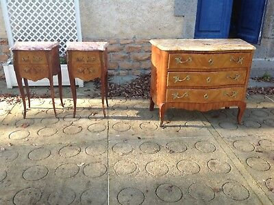 French vintage Louis XV style set of bedsides and bombe commode with gilt mounts