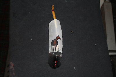 Authentic Native American Painted Feather Hair Tie By Navajo Artist Phillip Nez