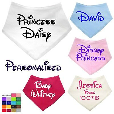 Personalised Baby Dribble Bib Bandana Any Name Boy Girl Gift Custom Disney Style