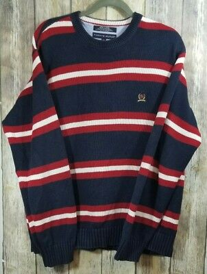 b038b95b44557 TOMMY HILFIGER VINTAGE flag mens size L sweater red white blue heavy ...