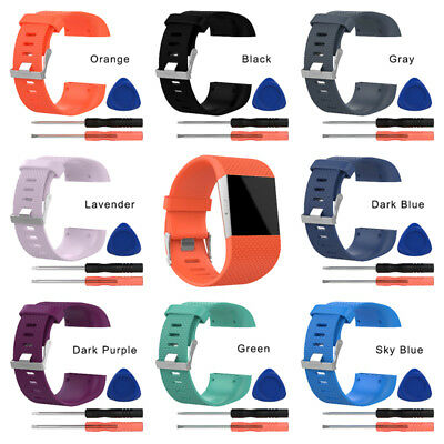Replacement Silicone Wristband Strap Watch Band Bracelet w/Tool For Fitbit Surge