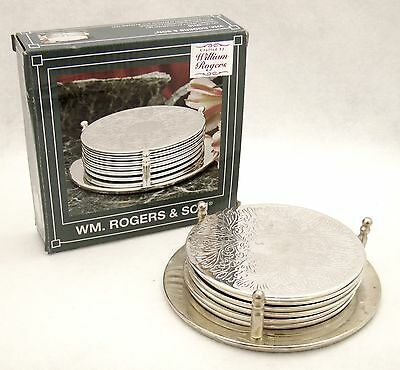 "Vintage Stunning 3 6/8"" Silverplated Wm Rogers 7 Pc. Coaster Set Orig. Box"