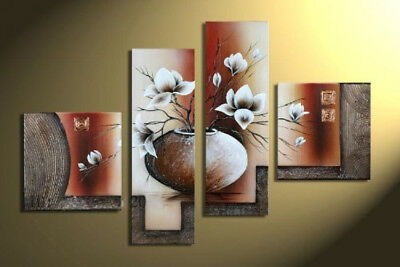 Flowers Artwork 4 Piece 100% Hand Painted Floral Oil Paintings For Wall Art Home
