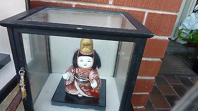 vintage Japanese  Geisha Doll Figurine Girl in Glass Case 2