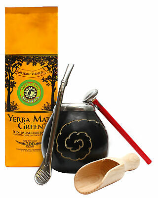 Yerba Mate Set: Mate Green Silueta 200g +Traditional Cup +Straw + All Accesories