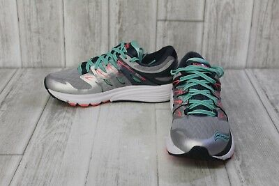 e0526e56 SAUCONY ZEALOT ISO 2 Running Shoes, Women's Size 8.5, Silver/Mint/Coral