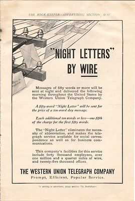 Western Union Telegraph Night Letters By Wire 1910 Vintage Ad