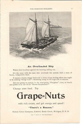 Grape Nuts Become One of the Ocean Greyhounds 1908 Vintage Ad
