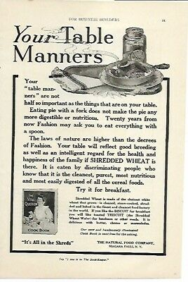 Shredded Wheat Table Manners Biscuit AM Triscuit for Lunch 1908 Vintage Ad