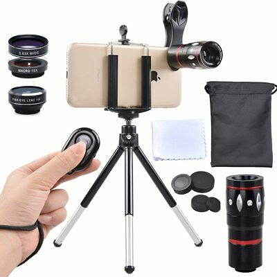 APEXEL 4 In 1 Cell Phone Lens Kit,10X Telephoto Lens+198 Degree Fisheye Wide and