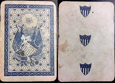 c1862 Authentic Civil War Historic Military Used Union Playing Card Single +COA