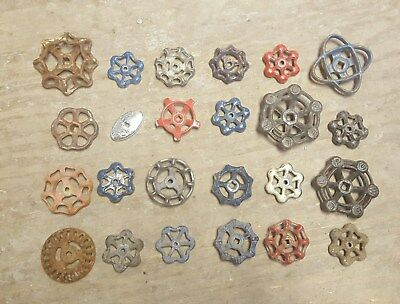 48 Assorted Valve Handles Water Faucet Knobs; Steampunk Industrial Arts Crafts