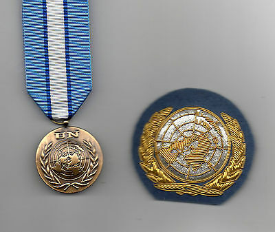 Full-Size United Nations Medal And Large Size Officers Beret Badge