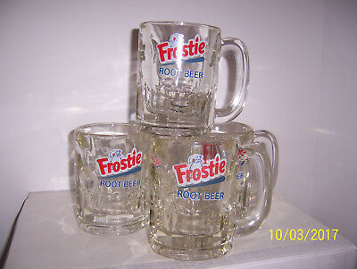 (4) Vintage Frostie Root Beer   Very Heavy Glass Drinking Mugs ( Nice Graphics )
