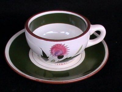 Stangl Pottery Pink Thistle Coffee Cup/Saucer Brown/Green EUC