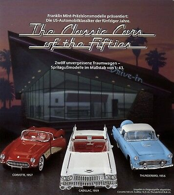 Franklin Mint Prospekt 1988 US Cars Fifties Modellautoprospekt Corvette Cadillac