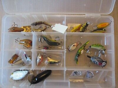 Lot of 24 Different  Fishing Lures in Plastic Box Some Name Brands