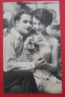 1900 french Lovers Real Photograph Glamour sexy stockings risque Postcard