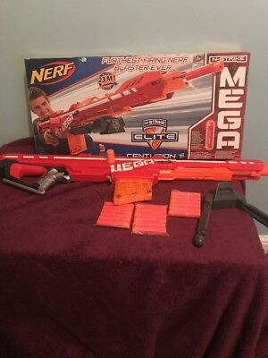 Nerf Gun Mega Elite Centurion With Box And 22 Bullets Like New