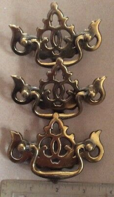 Lot 3 Classic Brass Draw Pulls Swinging Handles Mount Holes 2inches Apart