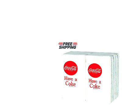Coca Cola 100 Pack Paper Napkins White Dinner Tissue Towel Box Case Holder Car