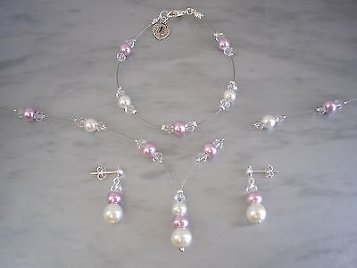 Coloured Pearl & Clear Crystal Necklace Bracelet Stud Earrings Silver / Gold 11S