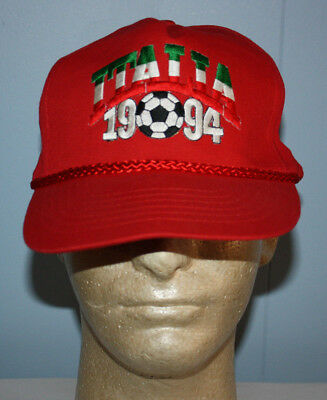 99e8375f942b42 ITALY ITALIA VINTAGE 1994 World Cup Snapback Hat Red & Green ...