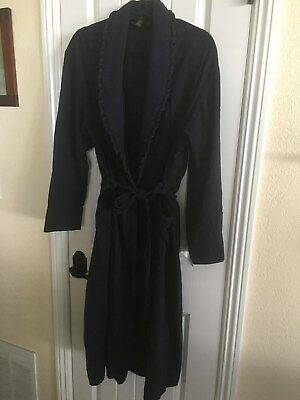 Lands' End Women's Navy Blue Flannel Robe - Long - w/ Tie and Pockets - XL 18-20