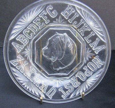1880s Antique EAPG Pressed Glass Bryce Higbee Rover Dog Children's ABC Plate
