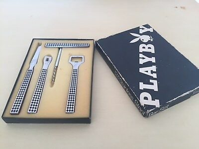 Vintage Playboy 4 piece Stainless Steel / Teak Bar Set