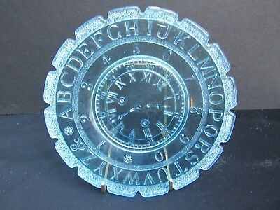 1891 Pressed Glass Ripley Peacock Blue Children's ABC Plate w Clock & Numbers
