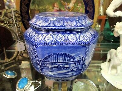 Maling Blue and White Transfer Historic Staffordshire Advertising Tea Jar