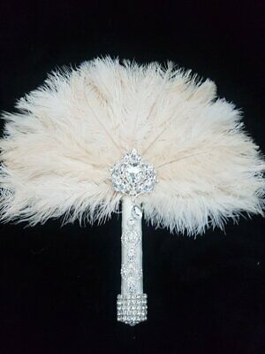 Ostrich feather wedding Fan Bouquet  GATSBY 1920'  wedding  Custom made to order