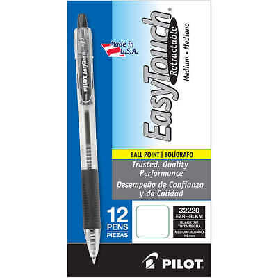 Pilot EasyTouch Retractable Ballpoint Pen, 1.0mm Medium Point, Black, 12-count