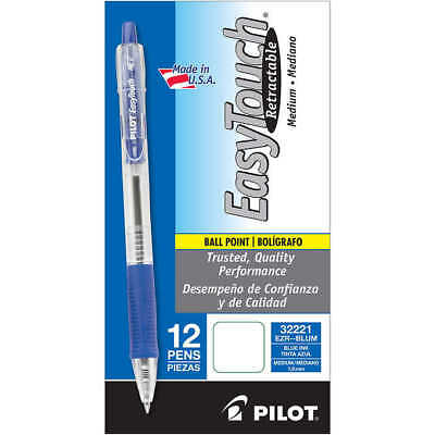 Pilot EasyTouch Retractable Ballpoint Pen, 1.0mm Medium Point, Blue, 12-count