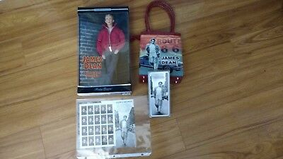 James Dean Lot !!! New Boxed Doll, New Route 66 purse, New watch, New stamps