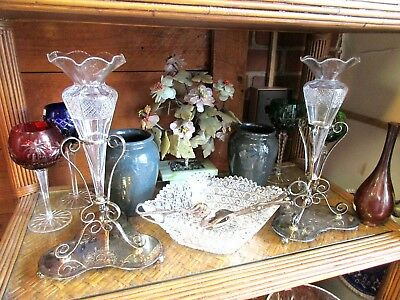 Pair English Silver Plate Cut Glass Epergne Vases